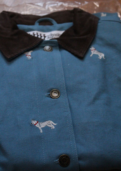 Barn Jacket with Embroidered Huskies